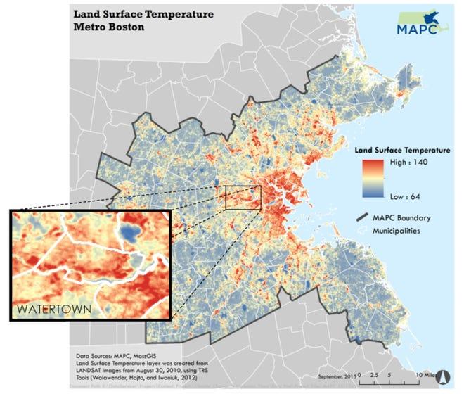 Land surface temperature, Metro Boston