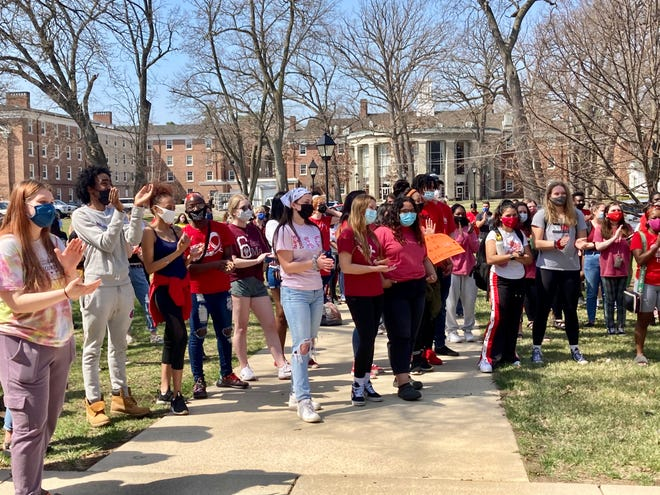 Hundreds of students gathered at Albion College on Tuesday, April 6, 2021 to protest racism on campus after racist graffiti was found in the stairwells of a dorm building on Friday, April 2.