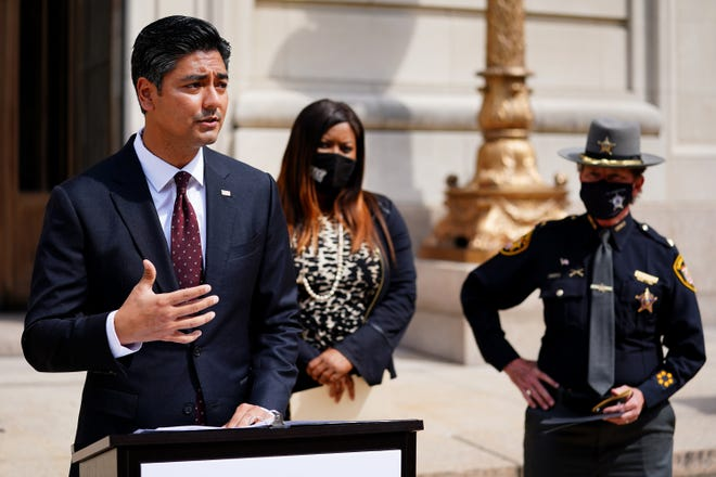 Hamilton County Clerk of Courts Aftab Pureval outlines how the county has the resources to provide landlords with funds and to prevent further evictions, Tuesday, April 6, 2021, at the Hamilton County Courthouse in Cincinnati.
