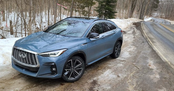 Sporty in looks, the 2022 Infiniti QX55 ain't bad in the twisties, either.
