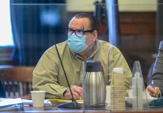 Stanley Isaac Lebeau listens to testimony on Tuesday in the Cascade County Courthouse.  Lebeau is accused of deliberate homicide for allegedly killing Tasha Rush in May 2017.
