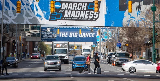 Fans begin packing up and leaving Indianapolis onTuesday, April 6, 2021, after the completion of the NCAA March Madness tournament.