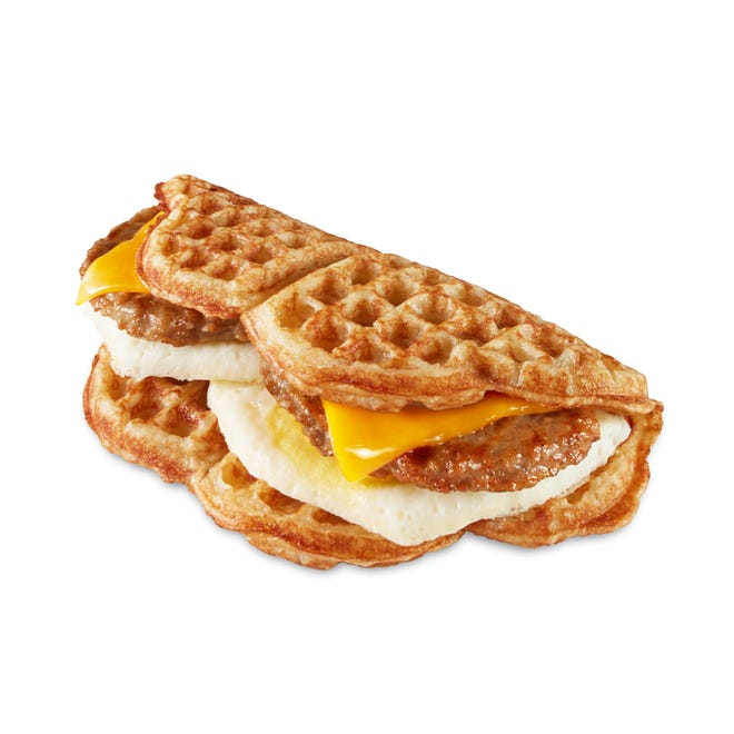 """Minnesota-based Nordic Waffles calls this an """"all-day"""" breakfast sandwich."""