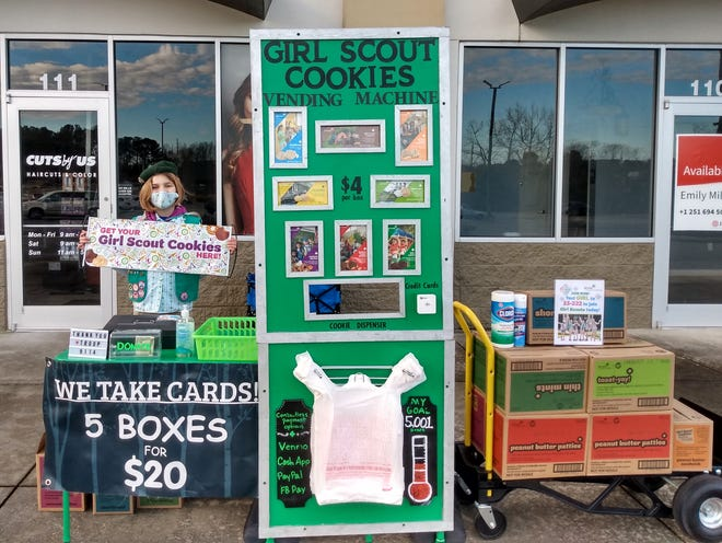 Lydia Plant, a fourth grader from Enterprise, sold a statewide record of 10,300 boxes of cookies for Girl Scouts, using her own cookie vending machine that took cards.