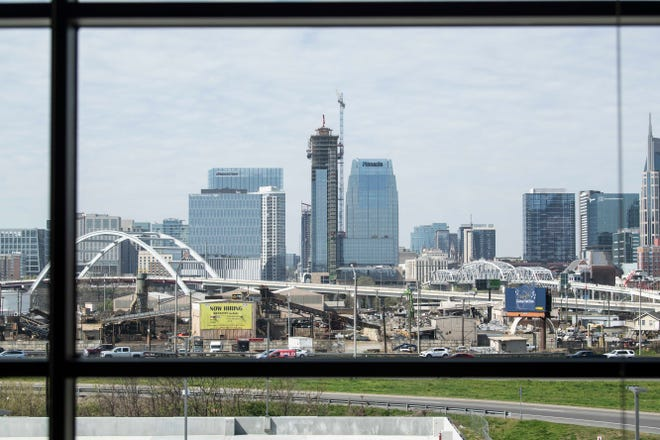 A view of the Nashville skyline is seen from the new Nashville sheriff headquarters, Tuesday, April 6, 2021.