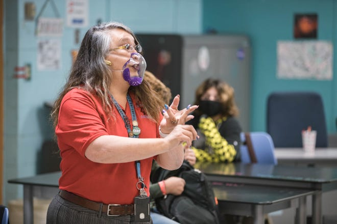 Cathy Bradley teaches her class at Lynn Middle School on the first day of in-person schooling in Las Cruces on Tuesday, April 6, 2021.