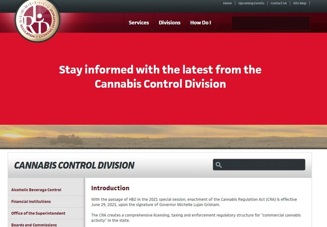 New Mexico's Cannabis Control Division debuts its page on the state Regulation and Licensing Department website, as seen on Tuesday, April 6, 2021.