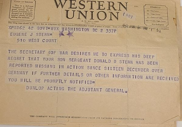 A Western Union telegram notifies the Sterns that Donald D. Stern is missing in action during World War II.