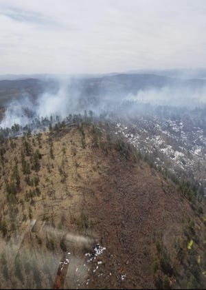 Aerial Reconnaissance image of smoke from the Elk Fire on Elk Mountain in the Gila National Forest Saturday, April 3, 2021.