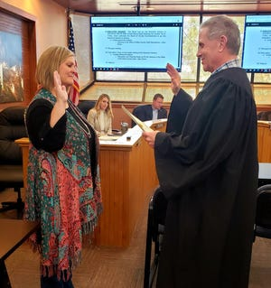 Eddy County Chief Deputy County Clerk Darlene Rosprim was sworn in April 6, 2021 by Eddy County Probate Judge Jay Francis. She was appointed by the Eddy County Commission to finish out the term of County Clerk Robin Van Natta who died last month.