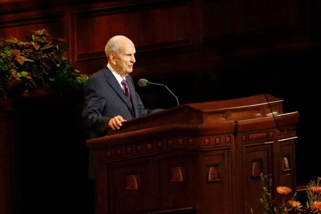The Church of Jesus Christ of Latter-day Saints President Russell M. Nelson, seen in this 2019 file photo, announced that Farmington will be the site of one of 20 new temples being constructed across the country.