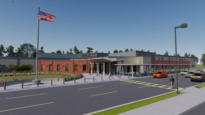 An architect's rendering shows a new K-8 school that will be constructed in Pace to help relieve overcrowding. Construction work is expected to get underway this summer.
