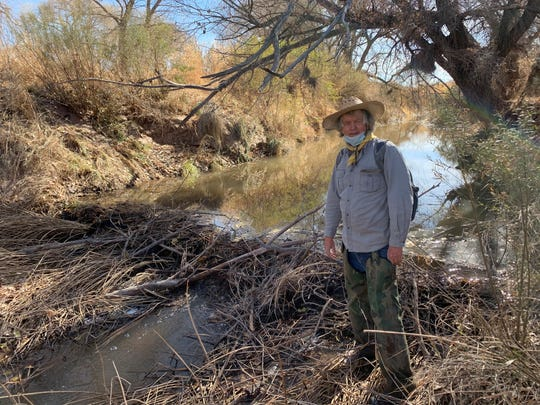 Mike Foster stands by a beaver dam on the San Pedro River in November 2020.