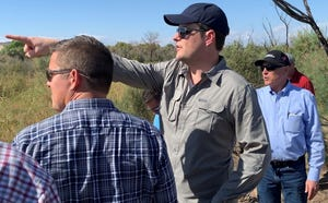 Rep. Matt Gaetz, R-Fla., (center) examines the area near the border in Yuma on April 16, 2019, with former Rep. Sean Duffy, R-Wis., at left and Rep. Andy Biggs, R-Ariz., at right.