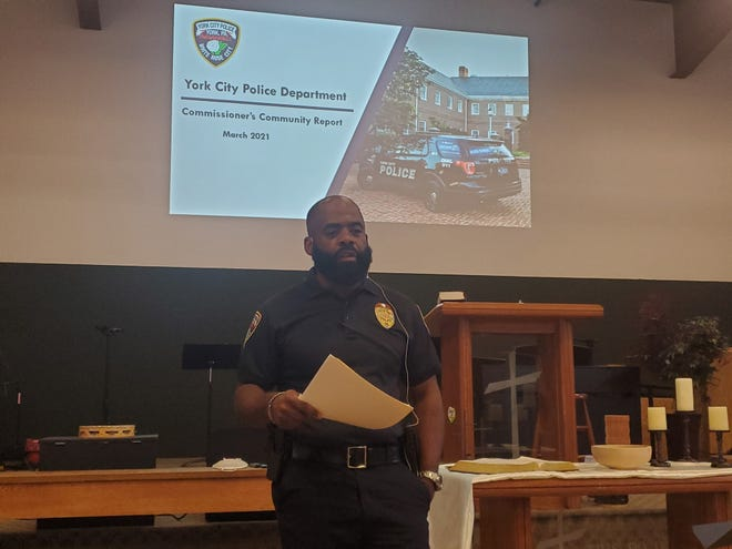 York City Police Commissioner Michael Muldrow speaks at a public forum on Monday, April 5.