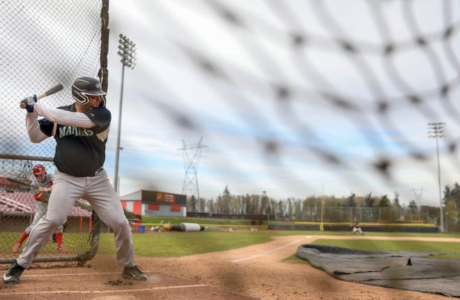 Alexander Wemple stands ready at the plate during tryouts for the new Mavericks Independent Baseball League on Saturday.