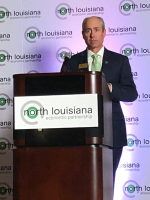 New North Louisiana Economic Partnership CEO and President Justyn Dixon speaks at an introductory event in Shreveport.