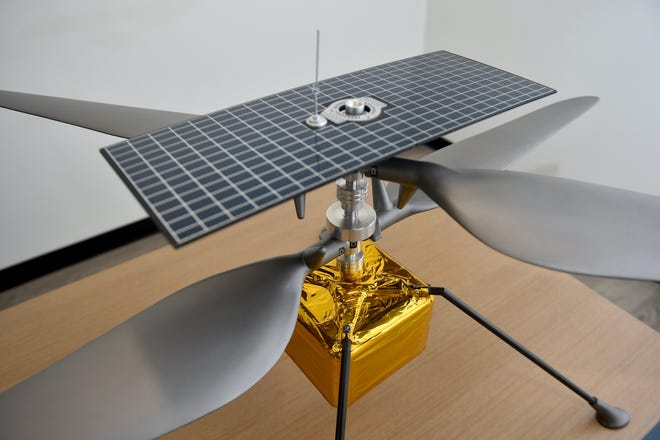 NASA's Ingenuity helicopter could make its first flight on Mars as early as Sunday. AeroVironment, which helped develop and design the craft, has this life-size replica of the craft at its Simi Valley headquarters. It weighs just 4 pounds and stands about 19 inches high.