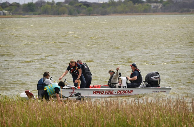 Wichita Falls firefighters performed a water rescue Tuesday afternoon at Lake Wichita. Two fishermen were stranded when their small boat broke down and winds blew it to the North shore of the lake. No injuries were reported.
