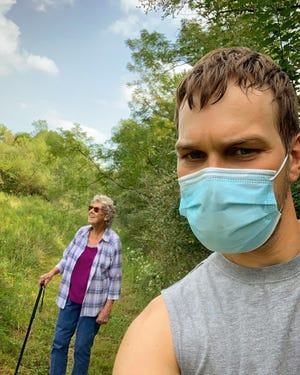 Grandma Joy Ryan and her grandson Brad during a hike this summer. The duo's plan to visit every national park in the United States was put on hold due to the COVID-19 pandemic, but a trip to Alaska is now in the planning stages.