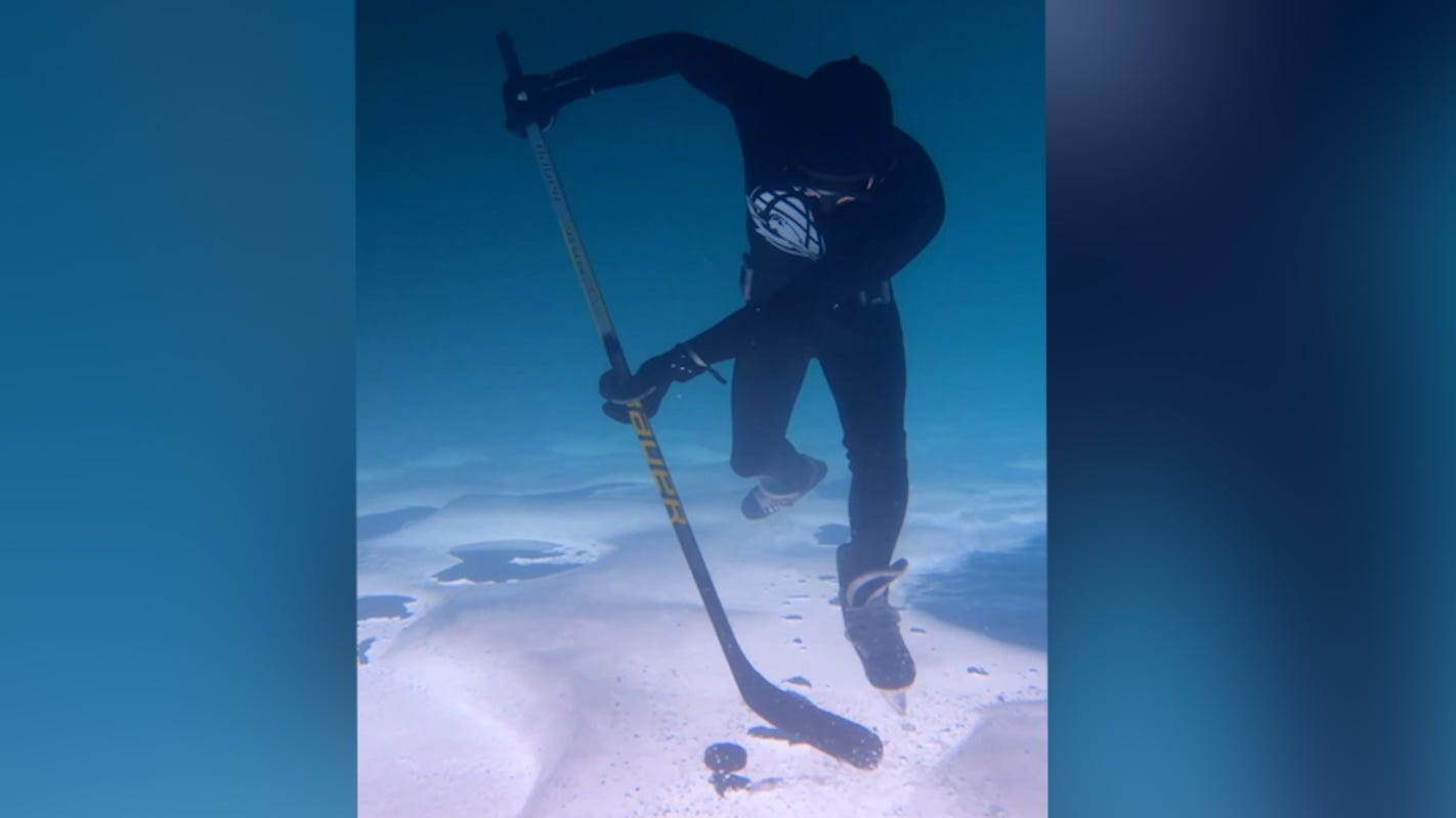 This diver only appears to be playing hockey underwater