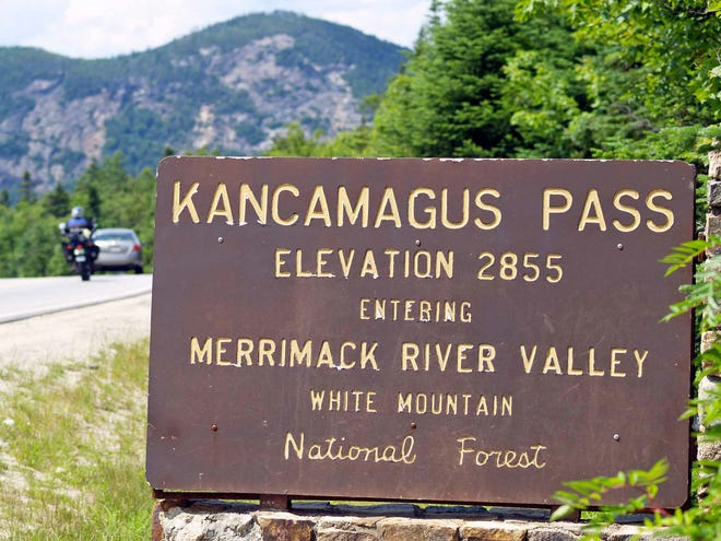 The 34.5-mile Kancamagus Highway travel through the White Mountains of New Hampshire.