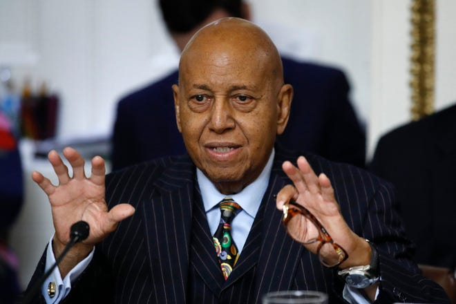 In this Dec. 17, 2019 file photo, Rep. Alcee Hastings, D-Fla., speaks during a House Rules Committee hearing on the impeachment against President Donald Trump on Capitol Hill in Washington.  Hastings, the longtime Congressman from Florida has died after a two-year fight with pancreatic cancer.  The Palm Beach County Democrat died Tuesday, April 6, 2021, according to his chief of staff, Lale M. Morrison.