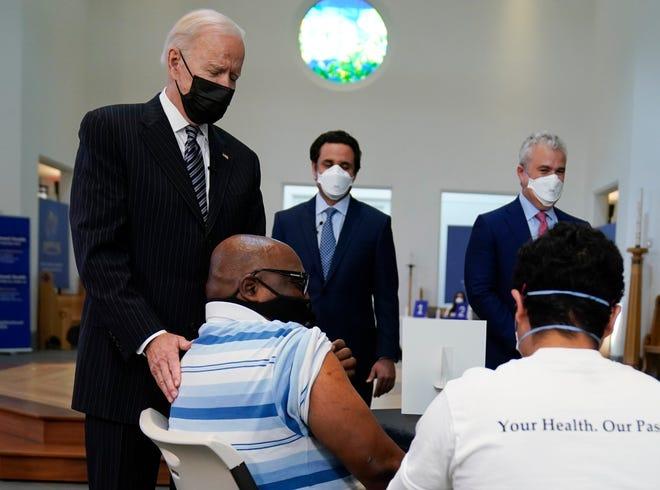 President Joe Biden visits a vaccination site at Virginia Theological Seminary, Tuesday, April 6, 2021, in Alexandria, Va. Evan Vucci, AP