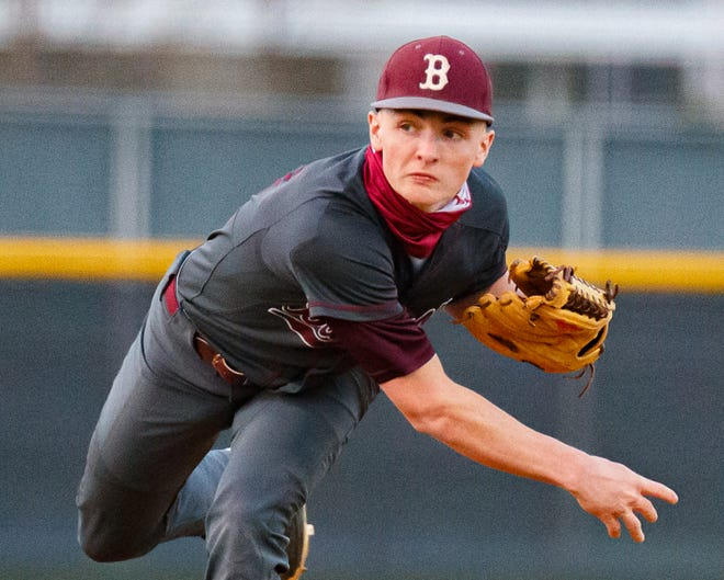 Bastrop pitcher Conrad Pace, pitching against Hendrickson in March, hit his first varsity home run in the game against the Hawks. He has been a pitcher since the age of 10.