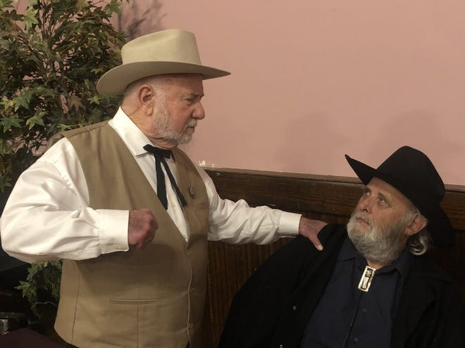 """Joe Grady Tuck, left, and Sam Damon are two of the lawyers taking part in the Bastrop Opera House's production of """"A Blood Feud Comes to Bastrop: The Killing of Arthur Burford."""" The play serves as a fundraiser for the Bastrop County Bar Association's Bobby Jenkins Scholarships."""