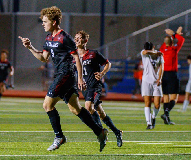 Lake Travis forward Alex Bethke scored twice as the Cavs rallied for a 2-1 win over San Antonio Harlan on Tuesday in New Braunfels to advance to Friday's Class 6A Region IV championship match against San Antonio LEE.