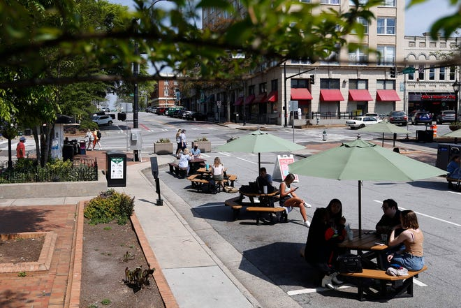 College Square Park in downtown Athens, Ga., on Wednesday, April 7, 2021. The Athens Mayor and Commission voted Tuesday to keep College Square closed to vehicles and it will continue to serve as a pedestrian square.