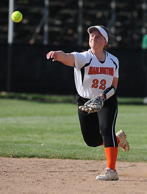 Marlington's Audrey Miller throws to first in an Eastern Buckeye Conference game against the Warriors at West Branch High School Tuesday, April 6, 2021.