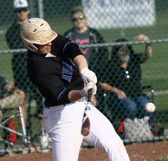 Alliance's Andrew Datz swings at a pitch against Salem in an April game.
