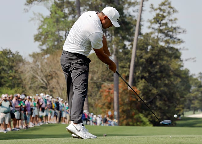 Brooks Koepka tees off No. 18 on Wednesday during his practice session for the 2021 Masters.