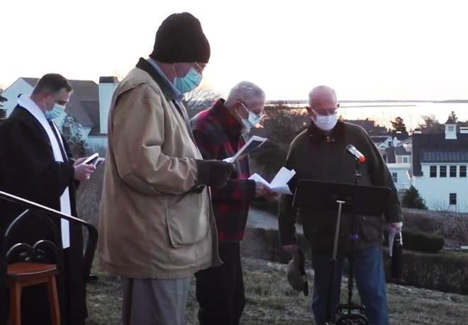 The Revs. Derek White, Stephen Trimble, Bob Anthony, and Rob Killefer lead the Easter Sunrise Service at St. Anthony's by the Sea in Hyannisport.