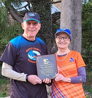 Skip and Sharon Schanbacker proudly display their BCRR Community Service Award.