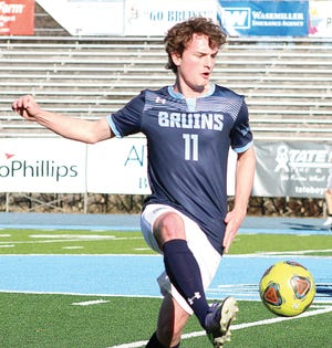 Tanner Benbrook of the Bartlesville High School boys soccer team is shown during varsity action earlier this season. The Bruins and Lady Bruins are set for Senior Night matches tonight at Custer Stadium.