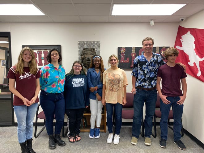 Brownwood High School students that placed at the UIL District Speech Competition on March 31, 2021. From left are Morgan Phipps, Kathryn Camp, Paislee Burney, Trinity Sessoms, Tatum Dehart, Mo Goff, and Peyton Wells.
