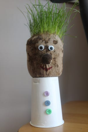 Adorable and easy to make, this DIY grass head craft is a fun Earth Day project parents and kids can do together.