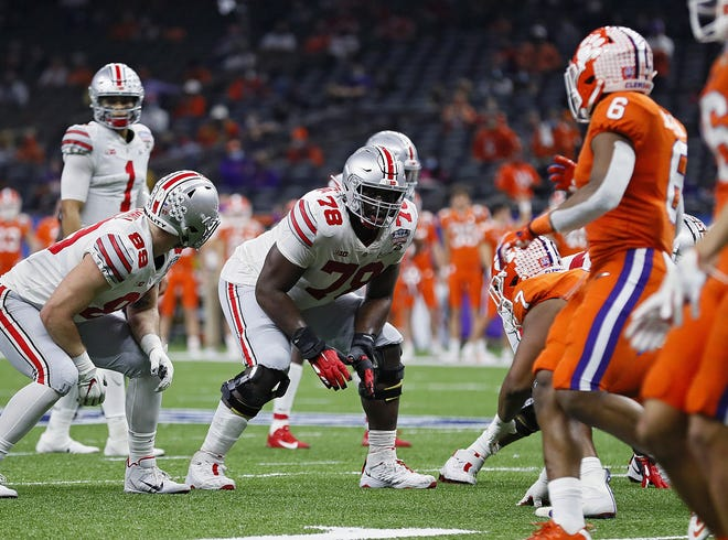 Ohio State offensive tackle Nicholas Petit-Frere (78), here playing against Clemson in a College Football Playoff semifinal on Jan. 1, wants to improve his run blocking this season.
