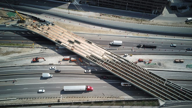 Work continues to relocate and revamp the intersection of I-70 and I-71 Downtown, including this ramp from Fulton St. to I-70 east and I-71 north. The overall project is estimated to cost is $120 million.