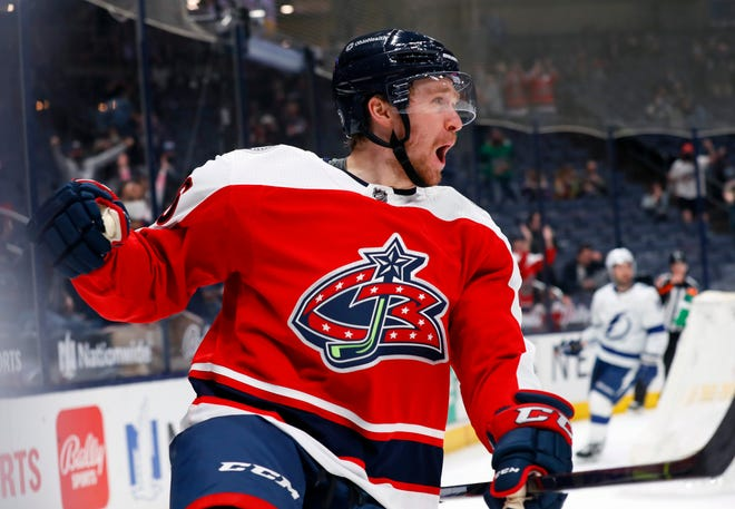 Columbus Blue Jackets center Zac Dalpe (26) celebrates after scoring on Tampa Bay Lightning goaltender Andrei Vasilevskiy (88) in the first period of their NHL at Nationwide Arena in Columbus, Ohio on April 6, 2021.