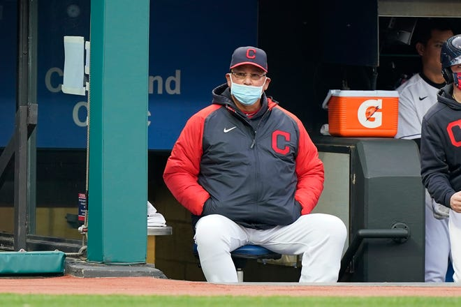 Cleveland Indians manager Terry Francona watches in the fourth inning of a baseball game against the Kansas City Royals, Monday, April 5, 2021, in Cleveland. (AP Photo/Tony Dejak)