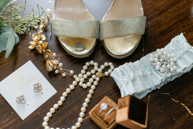 An assortment of old, new, borrowed and blue, with the added inclusion of a sixpence in the shoe