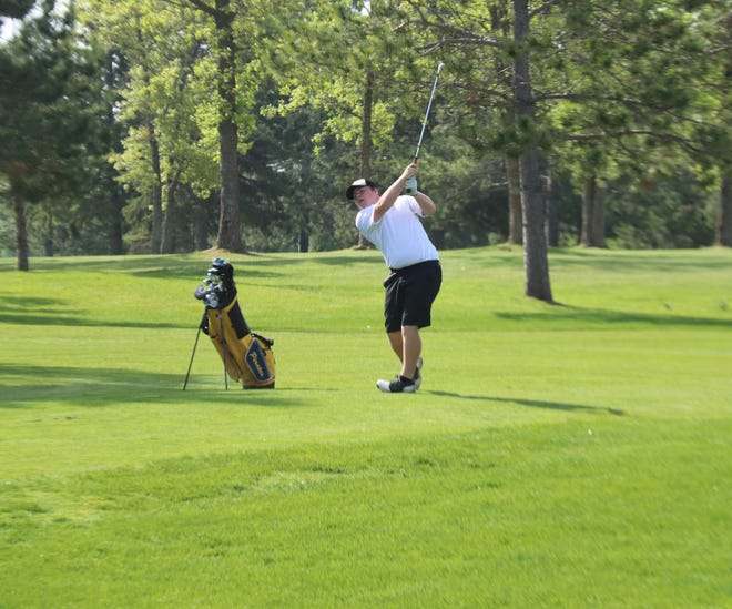 Jaxon Wang plays in the 2019 Section 8AA Tournament at Bemidji Town and Country Club. Wang is the lone returning member of the Pirates' varsity squad from two years ago.