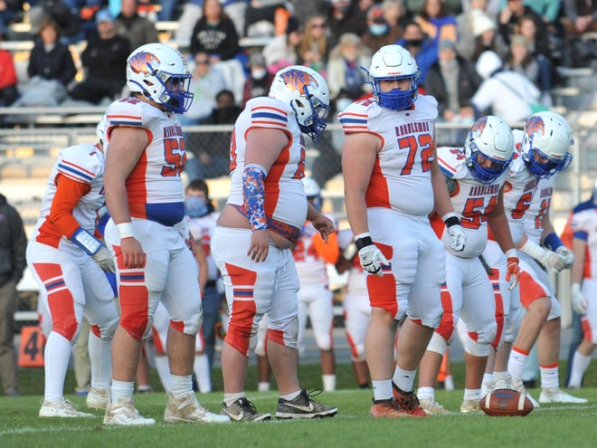 In this file photo, Randleman's offensive line gets ready for a play against Eastern Randolph earlier this season. The Tigers reached the playoffs with a 7-0 record, but fell to St. Pauls in the first round.