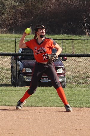 Meadowbrook's Maddie May prepares to throw out a Steubenville base runner during Tuesday's softball game in Byesville.