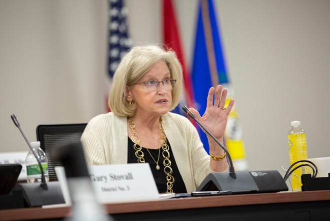 Maury County Commissioner Debbie Turner leads a committee meeting, addressing the problem of littering, in the Tom Primm Commission Meeting Room in Columbia, Tenn., on Tuesday, April 6, 2021.