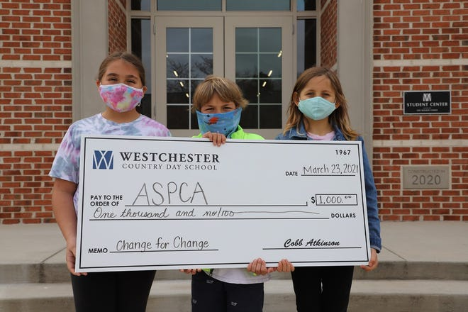 The WCDS Change for Change project collected loose change for donations to five organizations selected by students, including ASPCA, nominated by fourth graders Alyssa Tager of Thomasville, Webb Fulton of Lexington and Sara McMahon of Kernersville.